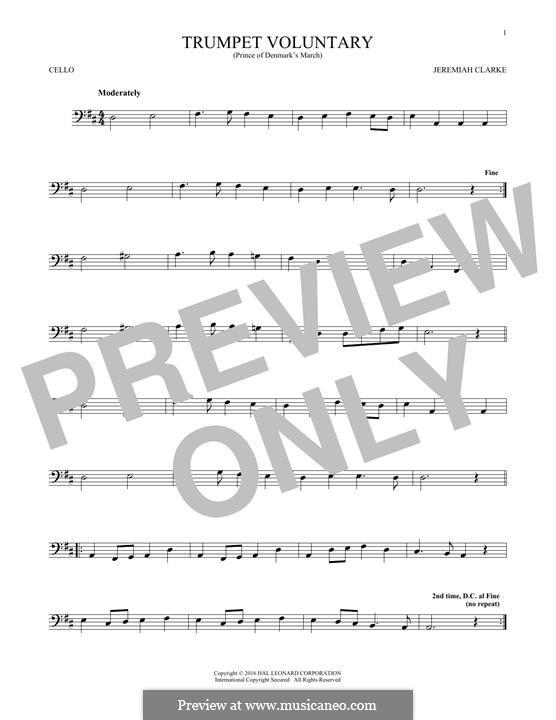 Prince of Denmark's March: Für Cello by Jeremiah Clarke