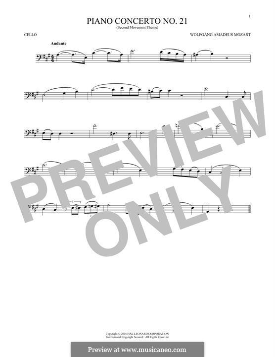 Konzert für Klavier und Orchester Nr.21 in C-Dur, K.467: Movement II (Excerpt). Version for cello by Wolfgang Amadeus Mozart
