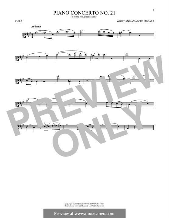 Konzert für Klavier und Orchester Nr.21 in C-Dur, K.467: Movement II (Excerpt). Version for viola by Wolfgang Amadeus Mozart