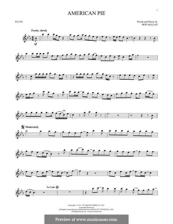 American Pie (Madonna): Für Flöte by Don McLean