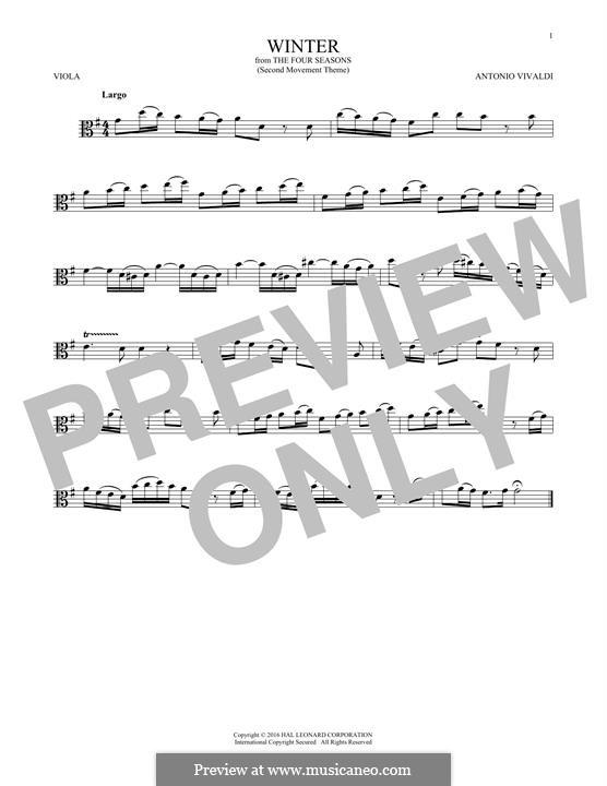 Violinkonzert Nr.4 in f-Moll 'Winter', RV 297: Movement II. Arrangement for viola (Theme) by Antonio Vivaldi
