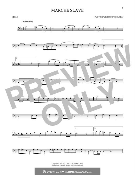 Slawischer Marsch, TH 45 Op.31: Arrangement for cello (Fragment) by Pjotr Tschaikowski
