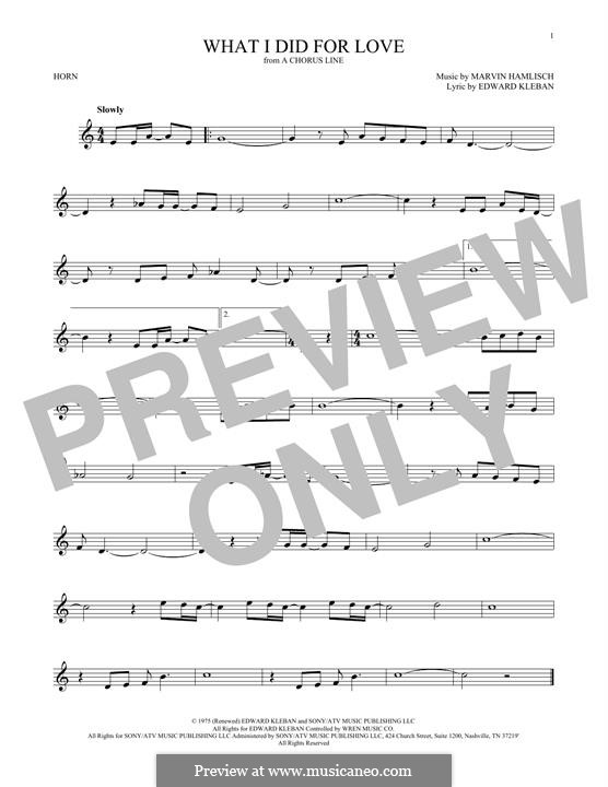 What I Did for Love (Priscilla Lopez): For horn by Marvin Hamlisch
