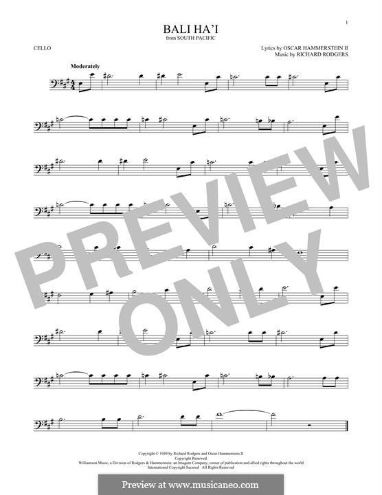 Bali Ha'i: Für Cello by Richard Rodgers