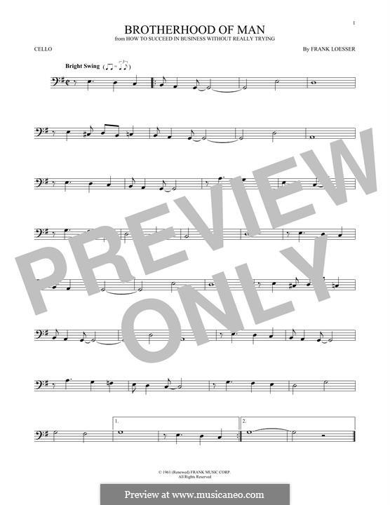Brotherhood of Man: Für Cello by Frank Loesser