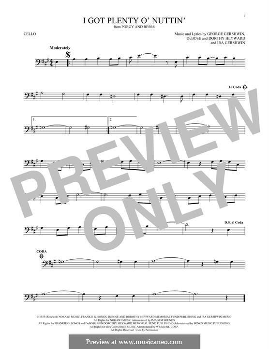 I Got Plenty O' Nuttin': Für Cello by George Gershwin