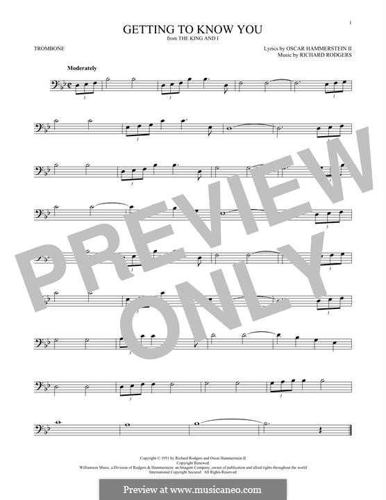 Getting to Know You (from The King and I): For trombone by Richard Rodgers
