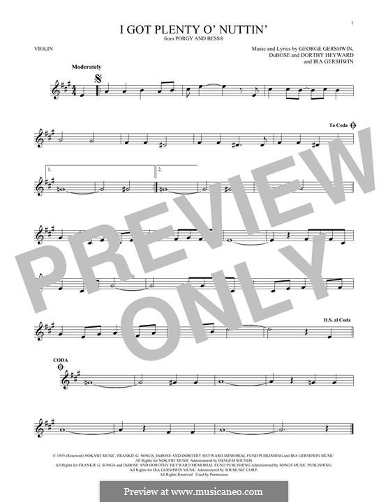 I Got Plenty O' Nuttin': Für Violine by George Gershwin