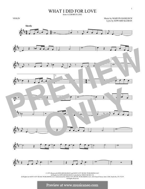 What I Did for Love (Priscilla Lopez): Für Violine by Marvin Hamlisch