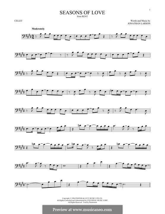 Seasons of Love (from Rent): Für Cello by Jonathan Larson