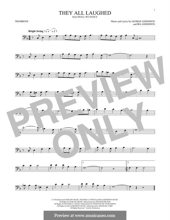 They All Laughed: For trombone by George Gershwin