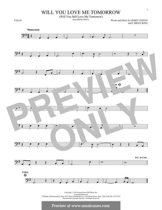 Will You Love Me Tomorrow (Will You Still Love Me Tomorrow): Für Cello by Carole King, Gerry Goffin