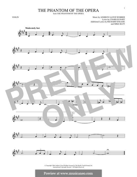 The Phantom of the Opera: Für Violine by Andrew Lloyd Webber
