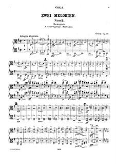 Zwei Melodien für Streichorchester, Op.53: Violastimmen by Edvard Grieg