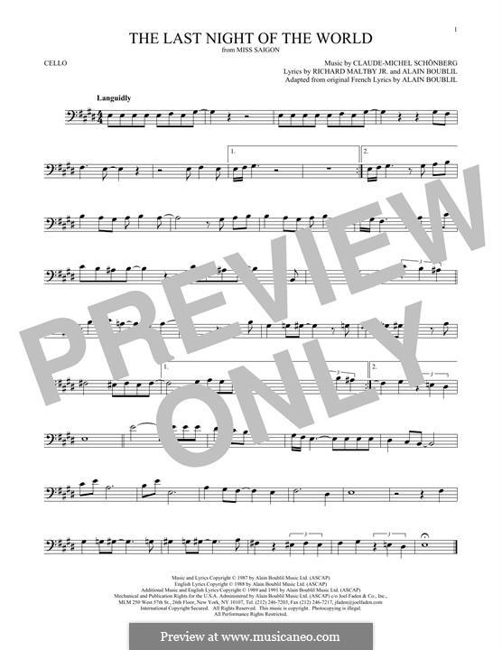 The Last Night of the World: Für Cello by Claude-Michel Schönberg