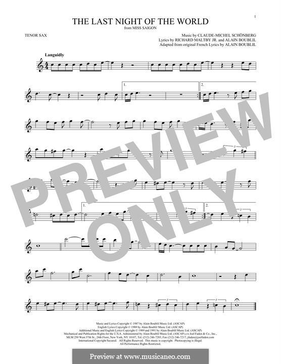 The Last Night of the World: Für Tenorsaxophon by Claude-Michel Schönberg