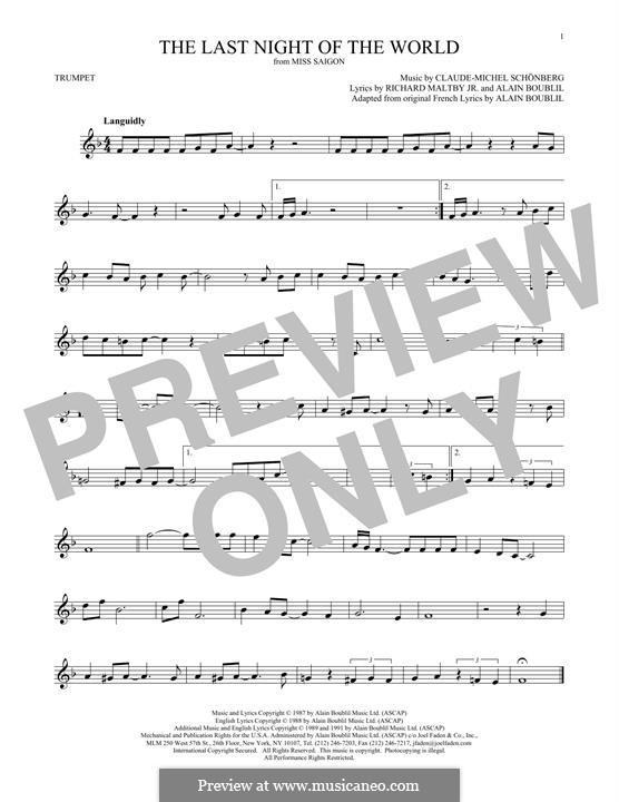 The Last Night of the World: Für Trompete by Claude-Michel Schönberg