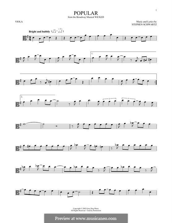 Popular: For viola by Stephen Schwartz