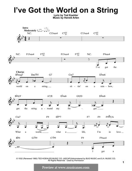 I've Got the World on a String: Melodische Linie by Harold Arlen