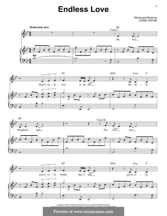 Endless Love: Für Stimme und Klavier by Lionel Richie