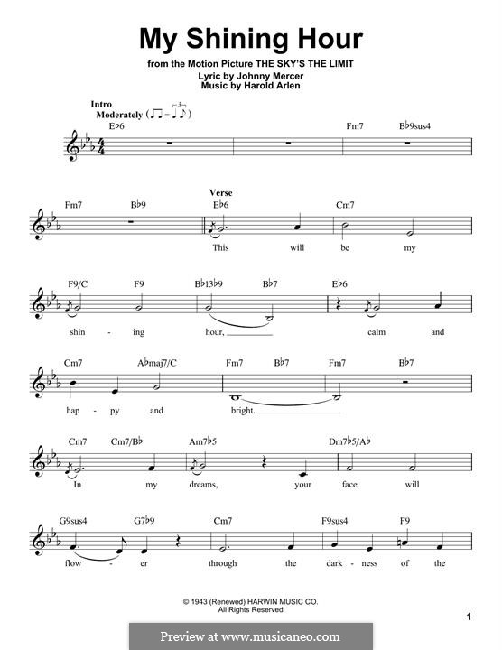 My Shining Hour (Ella Fitzgerald): Melodische Linie by Harold Arlen