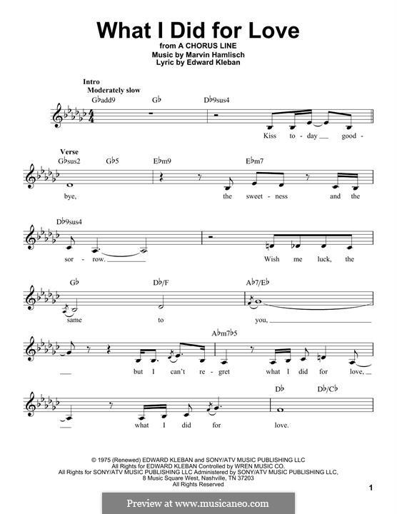 What I Did for Love (Priscilla Lopez): Melodische Linie by Marvin Hamlisch