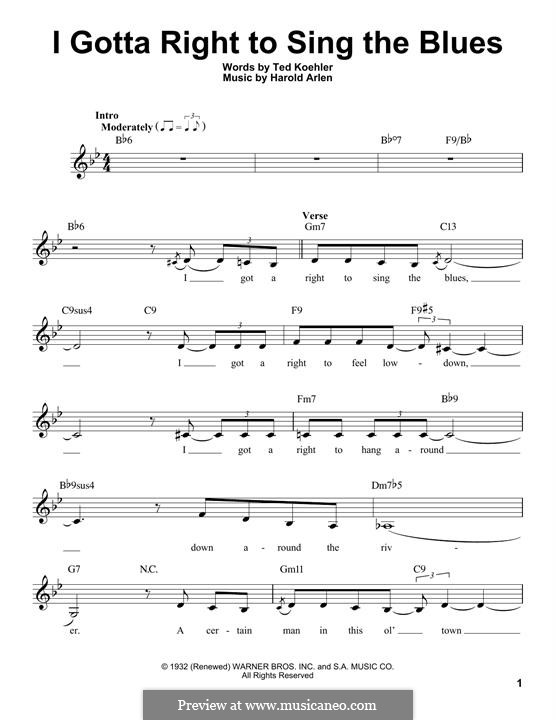 I Gotta Right to Sing the Blues: Melodische Linie by Harold Arlen