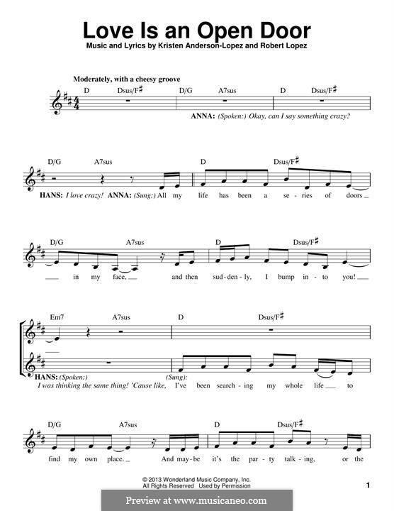 Love Is an Open Door: Melodische Linie by Robert Lopez, Kristen Anderson-Lopez