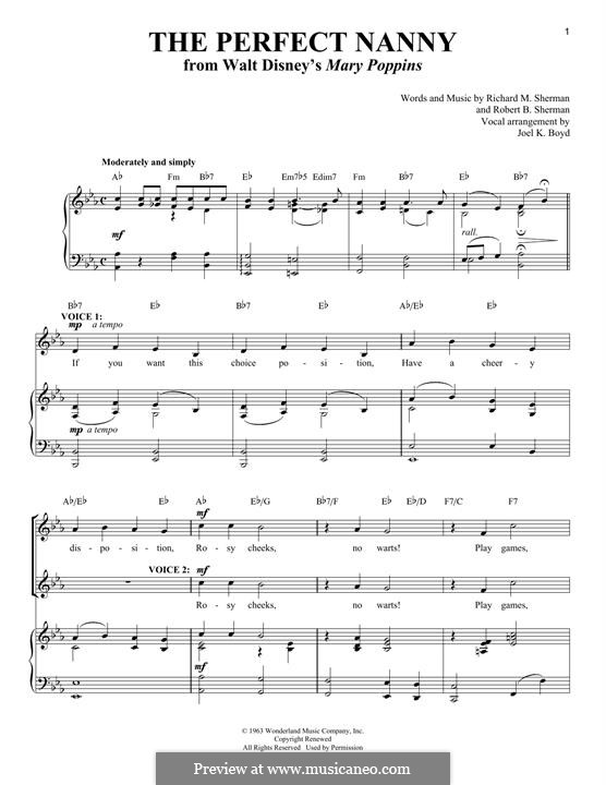 The Perfect Nanny: Für Stimme und Klavier by Richard M. Sherman, Robert B. Sherman