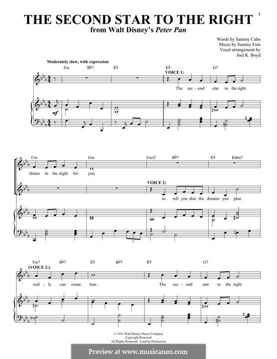 The Second Star to the Right (from Peter Pan): Für Stimme und Klavier by Sammy Fain