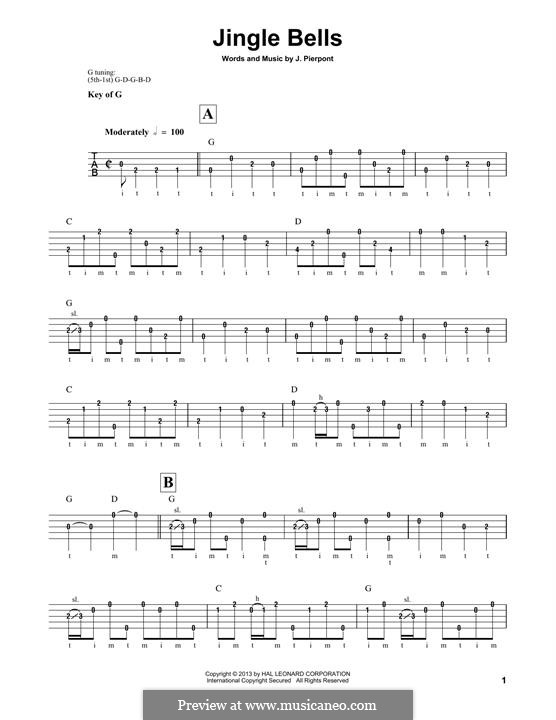 Jingle Bells (Printable scores): For banjo by James Lord Pierpont