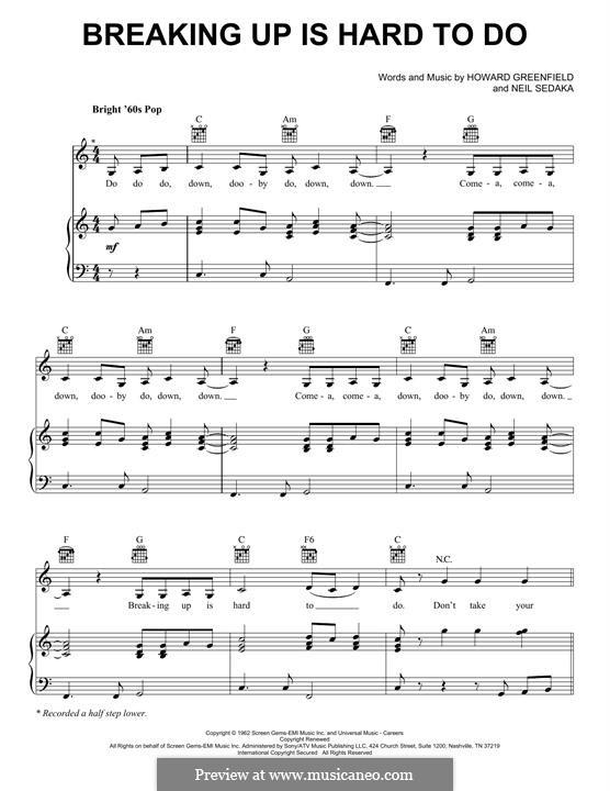 Breaking Up Is Hard To Do: Für Stimme und Klavier (oder Gitarre) by Howard Greenfield