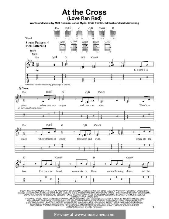 At the Cross (Love Ran Red): Für Gitarre mit Tabulatur by Chris Tomlin, Ed Cash, Jonas Myrin, Matt Armstrong, Matt Redman