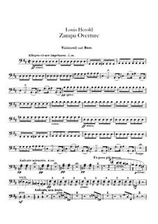 Zampa, ou La fiancée de marbre: Ouvertüre – Cello- und Kontrabassstimmen by Ferdinand Herold