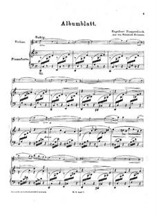 Albumblatt: Für Violine und Klavier by Engelbert Humperdinck