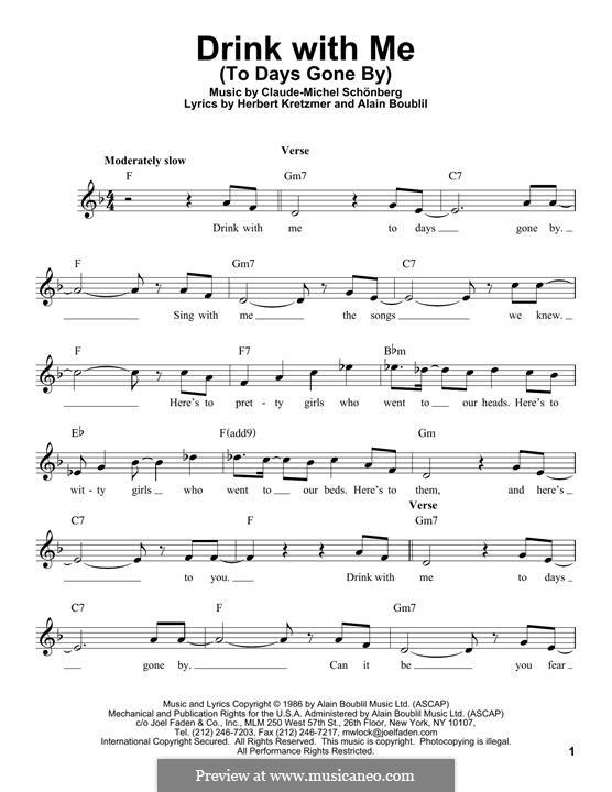 Drink With Me (To Days Gone By): Melodische Linie by Claude-Michel Schönberg