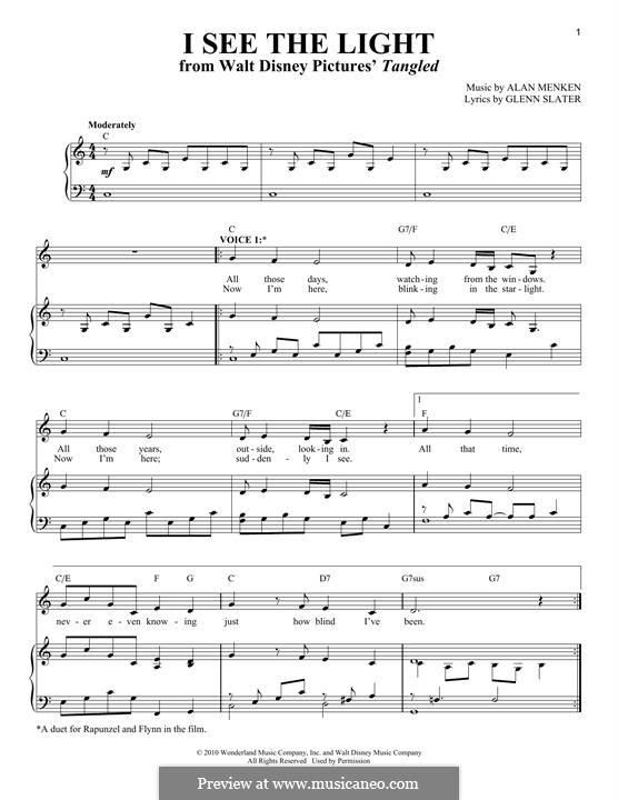I See the Light: Für Stimme und Klavier by Alan Menken