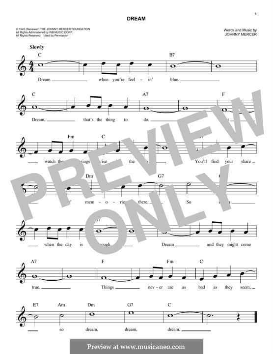 Dream (Frank Sinatra): Melodische Linie by Johnny Mercer