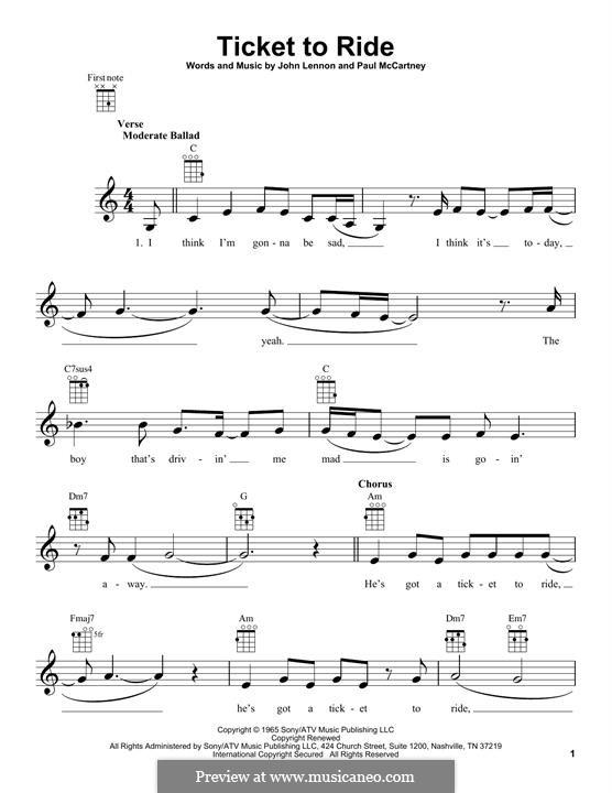 Ticket to Ride (The Beatles): Für Ukulele by John Lennon, Paul McCartney