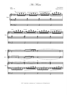 Ave Maria, D.839 Op.52 No.6: Duet for flute and Bb-clarinet - organ accompaniment by Franz Schubert