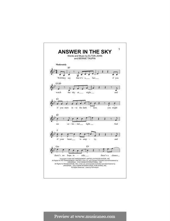 Answer in the Sky: Melodische Linie by Elton John