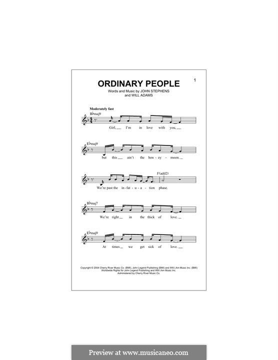 Ordinary People (John Legend): Melodische Linie by John Stephens, will.i.am
