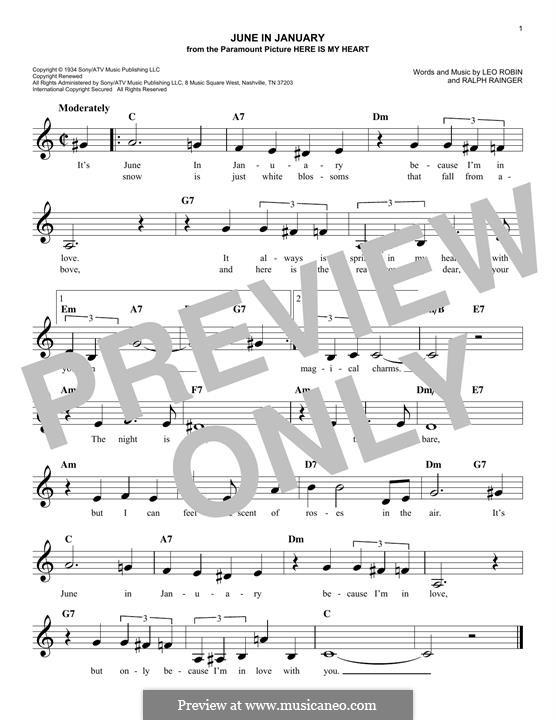 June in January: Melodische Linie by Leo Robin, Ralph Rainger