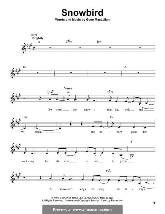 Snowbird (Anne Murray): Melodische Linie by Gene MacLellan