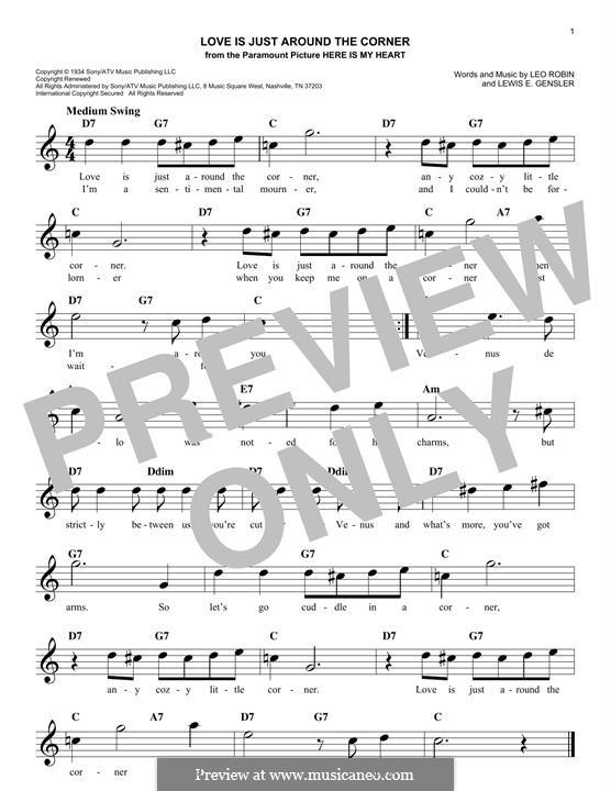 Love Is Just Around the Corner (Coleman Hawkins): Melodische Linie by Leo Robin, Lewis E. Gensler