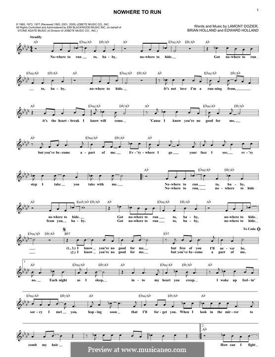 Nowhere to Run (Martha & The Vandellas): Melodische Linie by Brian Holland, Edward Holland Jr., Lamont Dozier