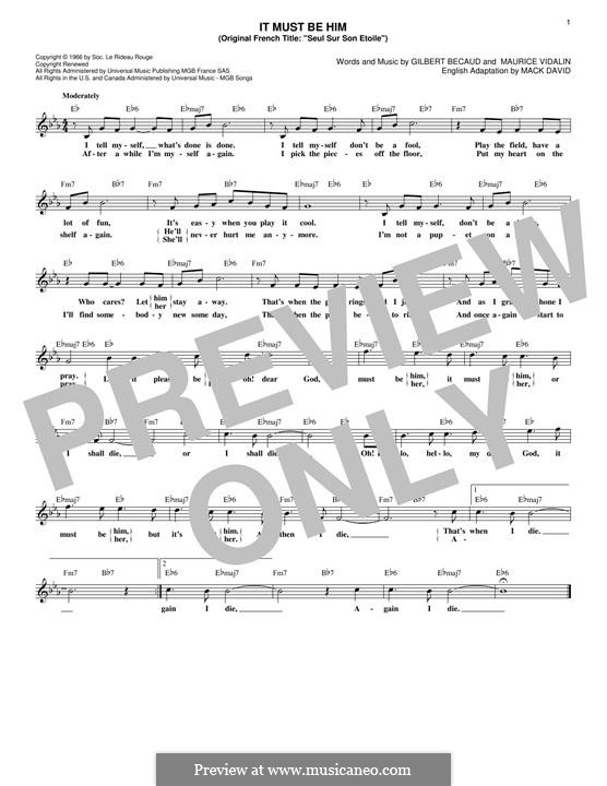 It Must Be Him (Vikki Carr): Melodische Linie by Gilbert Becaud