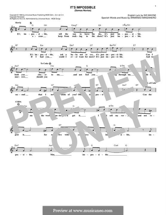 It's Impossible (Somos Novios): Melodische Linie by Armando Manzanero, Sid Wayne