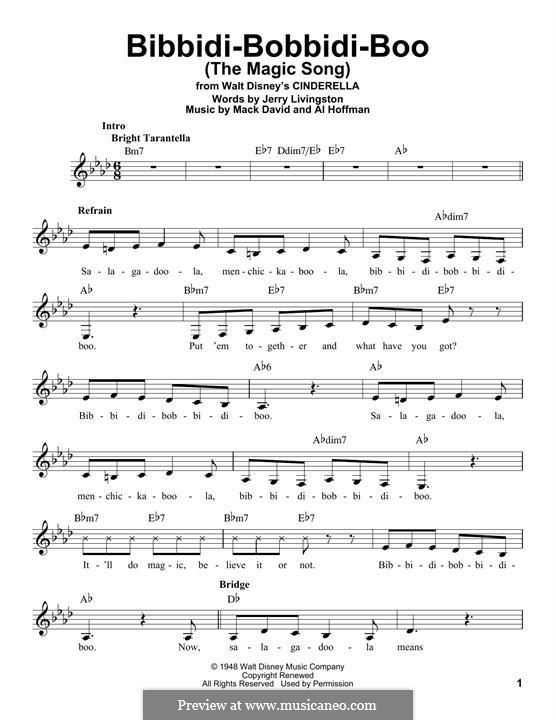 Bibbidi-Bobbidi-Boo (The Magic Song): Melodische Linie by Al Hoffman, Mack David