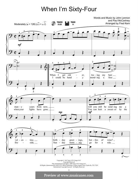 When I'm Sixty-Four (The Beatles), for One Instrument: Für Klavier by John Lennon, Paul McCartney